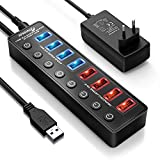 APANAGE Hub USB 3.0, 8 Puertos USB Hub Splitter (4 * Superspeed 5Gbps USB 3.0 Datos + 4 * Carga Inteligentes) con Interruptore Individuales ON/Off y 1.5M Cable, para Laptop/PC/Windows XP/Vista/Linux
