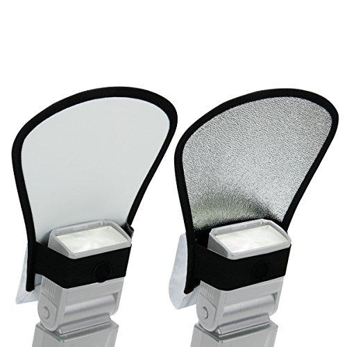 TrueSHOT 3-in-1 Bounce-Blitzlichtdiffusor aus Stoff mit Weiß & Silberreflektor / Soft Box DSLR Blitz Diffusor für Spiegelreflexkameras wie Canon EOS 1300D 750D 700D Nikon D5300 D3300 D7200 und mehr