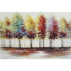 Siete pared artes-100% pintado a mano de pintura al óleo paisaje abstracto con diseño de árboles con marco estirada