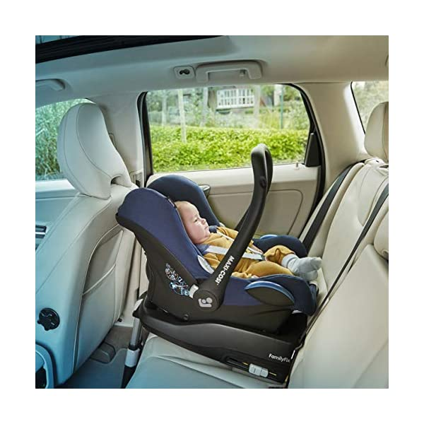 Maxi-Cosi CabrioFix Baby Car Seat Group 0+, ISOFIX, 0-12 Months, Frequency Blue, 0-13 kg Maxi-Cosi Baby car seat, suitable from birth to 13 kg (birth to 12 months) Side protection system for optimal protection against side impact Extra comfortable head support thanks to extra padding 8