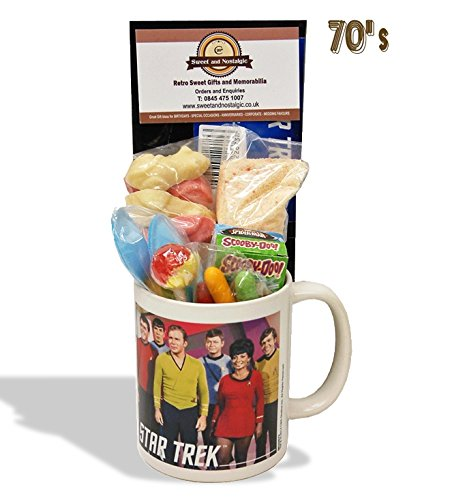Star Trek Star Trek..Characters Mug with a space travelling selection of 70's retro sweets.