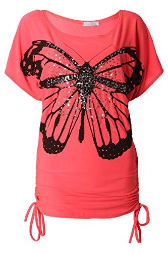 Raff Longshirt Sommer mit kurzen kimono Ärmel & Schmetterling Print mit Pailletten Neonpink