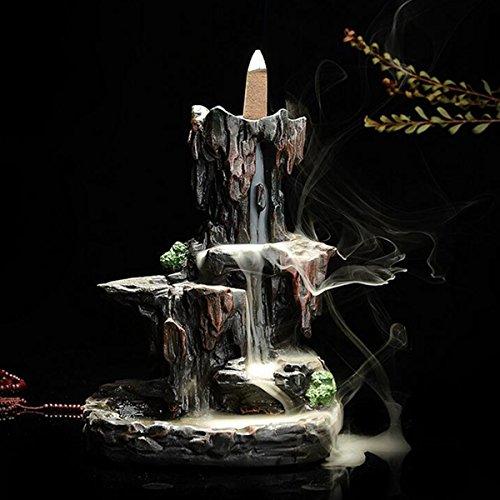Jeteven Gummi Räucherstäbchenhalter Rückfluss Räuchergefäß Luftbefeuchter für Freies Kegel ''Dragon Lotus Pond'' Aromatherapie Räucherstäbchen Rückfluss Weihrauch (14.5X13X19cm) -