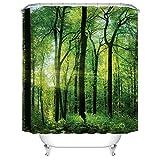 YLXINGMU Großer Duschvorhang Wasserdicht Und Geschmacklos Grüner Wald Duschvorhang Aus Polyester Weihnachtsdekoration.150Cm(W)×180Cm(H)