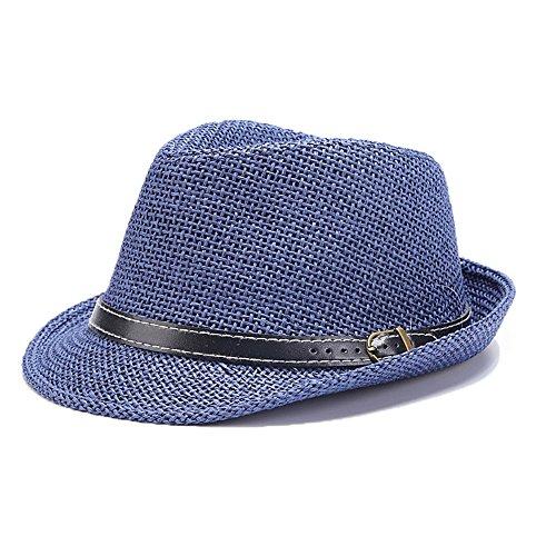 Trilby Panama Hut Männer Jungen Stroh Sommerhut Blau (Panama-hut Borsalino)