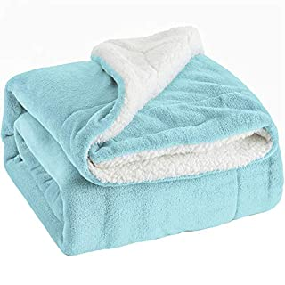 Bedsure Sherpa Throw Blanket Aqua Blue Travel/Single Size (130 x 150cm) Fleece Bed Throws Warm Reversible Microfiber Solid Blankets for Bed and Couch