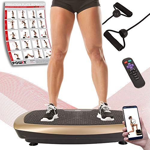 POWRX Vibrationsplatte Basic Duo | Fitness Trainingsgerät inkl. Fernbedienung und Tubes Widerstandsbänder | Große Rutschfeste Fläche für Ganzkörper Training (Schwarz-Gold)