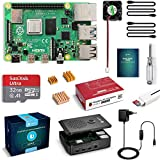 LABISTS Raspberry Pi 4 Model B 4GB RAM Starter Kit, RPi Barebone with MicroSD 32GB, Type C 5.1V Power Supply 3A, Fan, Micro HDMI, Card Reader and Protective Black Case