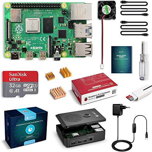 LABISTS Raspberry Pi 4 Model B 4 GB RAM Starter Kit RPi Barebone mit MicroSD 32 GB, Typ C Netzteil 5.1V 3A, Lüfter Micro HDMI, Kartenlesegerät und Schutzhülle schwarz