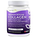 Pure Hydrolysed Grass Fed Bovine Collagen Peptides Powder - 450g of Premium Protein Powder - 100% Natural Bovine Collagen Peptides - No Artificial Colours/Flavours - Made in UK by Nutravita