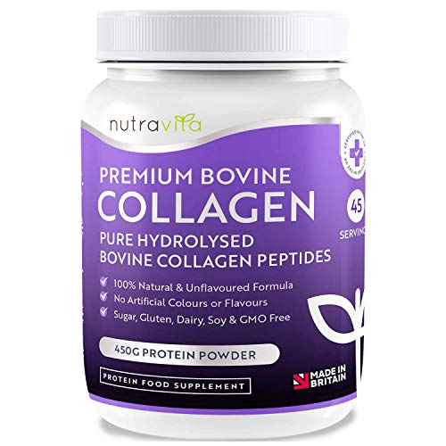 Pure Hydrolysed Bovine Collagen Powder - 450g of Premium Protein Powder - 100% Natural Bovine Collagen Peptides - No Artificial Colours/Flavours - Halal/Kosher Certificated - Made in UK by Nutravita