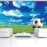 FORWALL Fototapete Tapete Fußball auf Gras P8 (368cm. x 254cm.) Photo Wallpaper Mural AMF3388P8 Gratis Wandaufkleber Sport Fußball Sportplatz Blau Himmel Wolken Grün