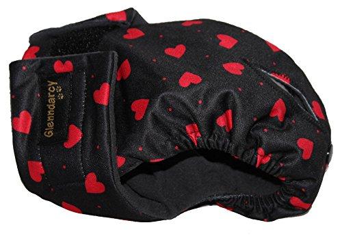 Glenndarcy Dog Pants Windelhose für Hunde, Größe L, Red Hearts