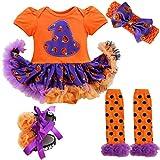 YiZYiF Neugeborenes Baby Mädchen Bekleidungsset Outfits Kürbis Halloween Kostüm Kurzarm Strampler Overall mit Tütü Röckchen + Stirnband + Beinwärmer + Schuhe (6-9 Monate, Orange + Lila)