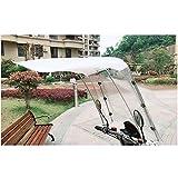 Liang Shuang 7-Shaped Plastic Auvent Parapluie Voiture électrique Moto Batterie De Voiture Anti-Pare-Brise Pluie Protection Solaire Parapluie Auvent De Vélo électrique Electric Car Shelter White