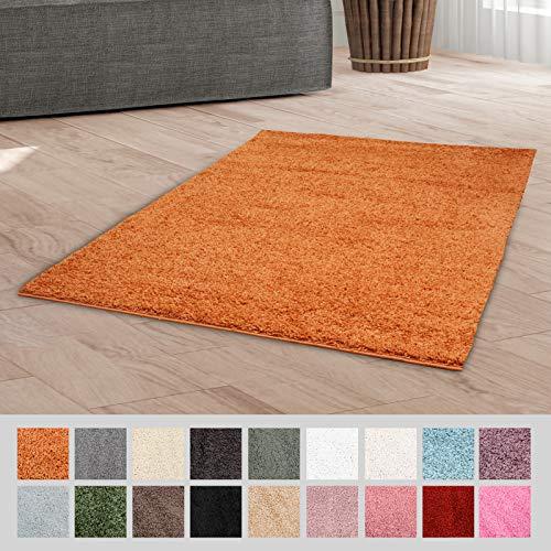 Taracarpet Hochflor Langflor Shaggy Teppich geeignet für Wohnzimmer Kinderzimmer und Schlafzimmer flauschig und pflegeleicht orange 120x170 cm