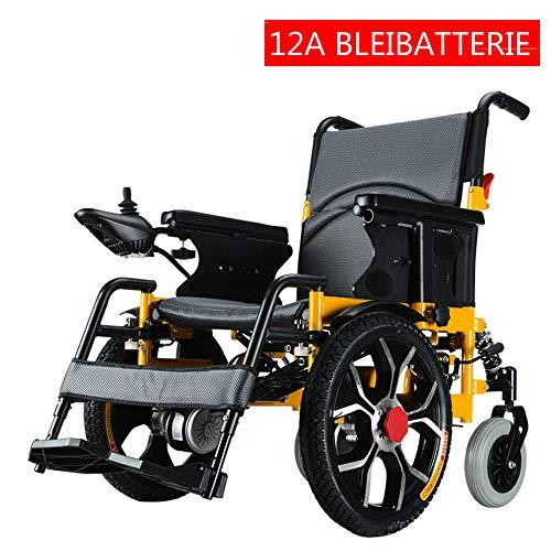 CHUDAN Tragbarer Elektrischer Rollstuhl Mit doppeltem Stoßdämpfer, Faltbarer Power Leichter medizinischer Roller - Kompakter Mobilitätshilfe-Rollstuhl für ältere, Behinderte,A