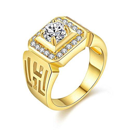 Uloveido Herren gelb vergoldet runde zirkonia Hochzeit Band breite quadratische verlobungsringe Ringe für männer jx001 (Gold, größe 57 (18,1)) (Band Gelb Ring Hochzeit Gold Herren)