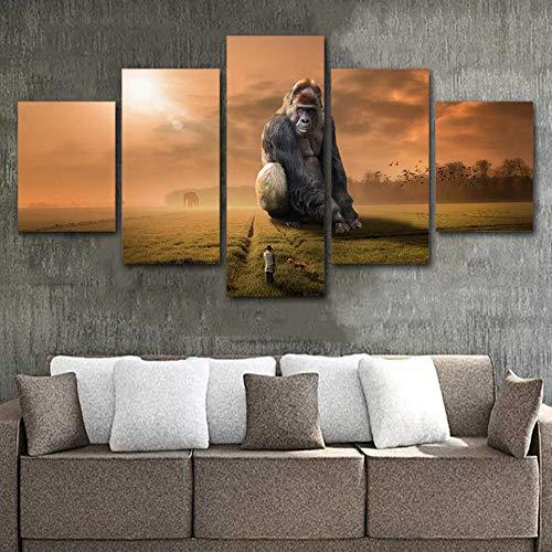 Yyjyxd ArtSailing 5 Stücke malerei KingKong movie poster wandkunst leinwand Malerei Dekoration Für Wohnzimmer HD Drucke-4x6/8/10inch,Without frame (Movie Full 8 Halloween)