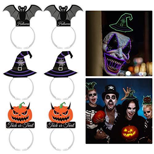 Amosfun 6 x Halloween-Haarreifen, Fledermaus, magischer Hut, Kürbis-Haarreif, leuchtende Kopfbedeckung, Cosplay, Kopfbedeckung, Halloween, Party-Haar-Accessoires