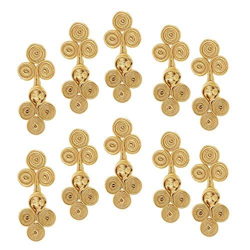 Sharplace 10 Stück Traditionellen Buttons Cheongsam Kostüm Chinese Knot Frog Knöpfe Chinese Frog Closure Button Knot Fastener - Gold, 55 x 25 ()