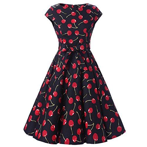 iHAIPI - Damen Audrey Hepburn 50s Retro Vintage Bubble Skirt Rockabilly Swing Evening Kleider (03. EU 40 (L), 017 Schwarze Hintergrund Rot Kirsche)