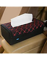 NIKAVI Portable Leather Rectangular Tissue Cover Box Holders Case Pumping Paper Car Hotel Home Gift (RED LINE)