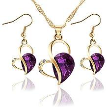 Ebreo Love moda donna elegante placcato oro 18K Diamond Heart Water Drop collana orecchini set