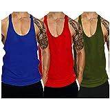 TX Apparel Herren Tanktop Fitness Stringer Gym Shirt Baumwolle,3er Pack