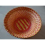 """Craftorium Bamboo Store Bamboo Colorful Flower Basket (9"""" x 9"""" x 3"""", Multicolour)"""