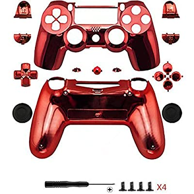Canamite Case Casing Chrome Modded Shell Cover for PlayStation PS4 DualShock 4 Controller (Red) from Canamite
