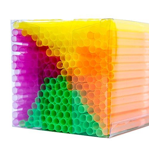 NEON STYLES - pajitas en cuatro colores fluorescentes de Mentol, 225 pcs en una transparentes Box, luces bajo luz negra aún más intensos y perfeccionar cada bebida en cada Bar en cualquier ocasión