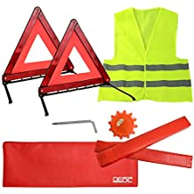 LIHAO Erste Hilfe Set Auto 3in1 KFZ Kombitasche Pannenwerkzeugset Warnweste Handschuhe Warndreieck