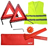 DEDC 4er/Set Warndreieck Pannenwarndreieck Faltbar Reflektor Auto Emergency Kit Warnzeichen(2 Faltbare Warnschilder + 1 Sicherheitsweste + 1 Warnleuchte)