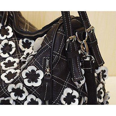 YJIUX Frauen Umhängetasche Rindsleder Frühling/Herbst Sommer Event / Party and Square Split Gemeinsame Blume Reißverschluss Schwarz-weiß Black-white