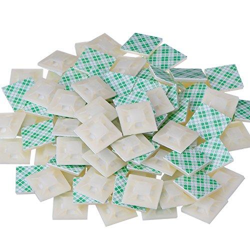 100 Stück Selbstklebende Kabelklemme Basis Halter, 20 mm x 20 mm x 4 mm, Weiß