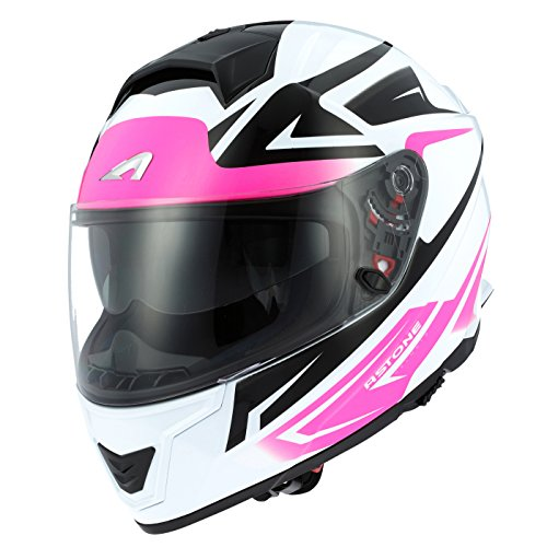 Astone Helmets Casco de Moto Integral de Fibra GT1000F, Blanco/Rosa, M
