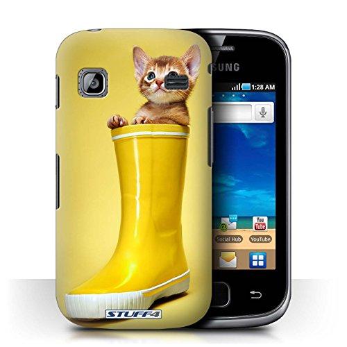 Custodia/Cover Rigide/Prottetiva STUFF4 stampata con il disegno Gattini per Samsung Galaxy Gio/S5660 - Stivale Wellington