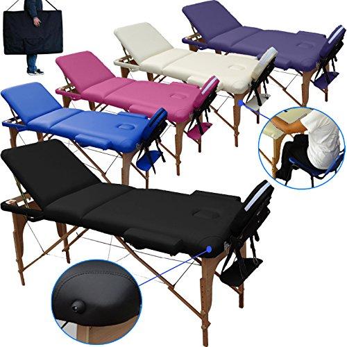 lettino massaggio classico 3 zone in legno dimensione 195 x 70 cm - lettini per da massaggi portatili pieghevoli - pannello reiki - angoli arrotondati e rinforzati - nuovo - fisioterapia fisioterapista tattoo tatuaggi relax - nero