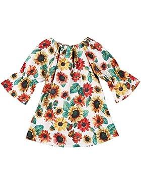 Brightup Niños niñas Vestido de verano muchachas cabritos impresión,Vestido A-line vestido de playa /fiesta Mangas...