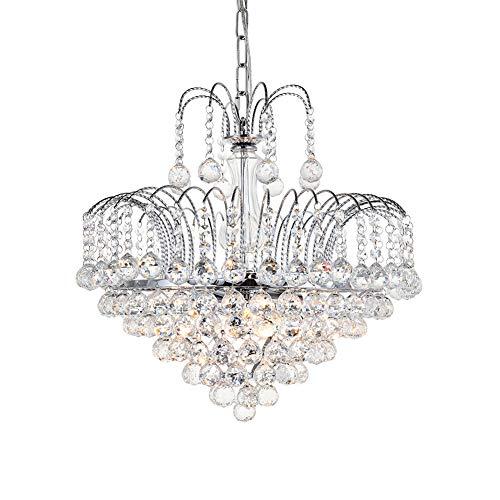 Moderne Elegante Kristall Kronleuchter, Klar K9 Kristallkugel Regentropfen Deckenleuchte mit 6 Lichter Luxuriöse Led Anhänger Leuchte für Esszimmer Wohnzimmer Schlafzimmer Flur Foyer Wohnkultur