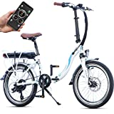 Bluewheel klappbares E-Bike BXB55 - 20 Zoll Pedelec mit Smartphone APP E-Citybike mit 250W Bafang Heckmotor 36V 13Ah Akku, Shimano Gangschaltung, Scheibenbremse, E-Klapprad bis 24 km/h Elektro-Fahrrad (Weiß)