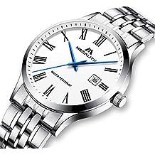 Relojes Hombre Relojes de Pulsera Impermeable Deportivo Lujo de Acero Inoxidable Plata Reloj Simple Fino Analógico