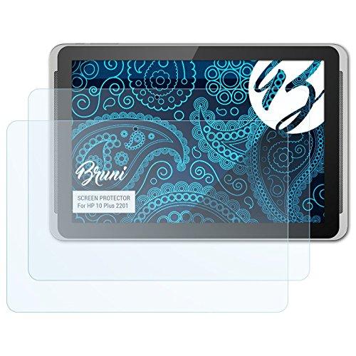 Bruni Schutzfolie kompatibel mit HP 10 Plus 2201 Folie, glasklare Displayschutzfolie (2X) (Hp Tablet 10 Displayschutzfolie)