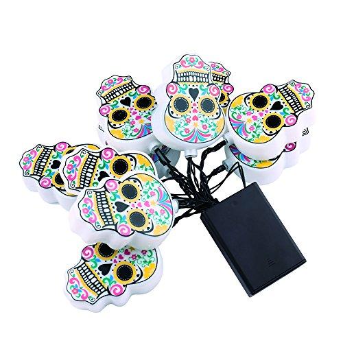 lederTEK Cadena de Luces de 10 LED Con Caja de Batería Luz de Diseño de Calaveras para Halloween y Dia de Los Muertos