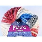Lana Grossa Feltro Stampa 1403Color Blanco/Rojo/Azul/Antracita 50g