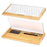URCOVER® Supporto Alloggio per Tastiera Intern Design   Legno Bambú Nobilitato in Marrone   Base Appoggio Portaoggetti