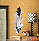 #8: BikriKendra - Hexagon 14 Silver - 3D Acrylic Mirror Wall Décor Stickers for Home & Office - Factory Outlet - Premium Quality