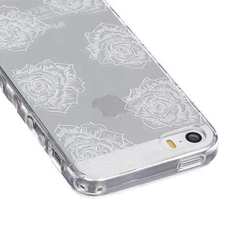 iPhone SE / 5 / 5s Coque Housse Etui, iPhone 5s Argent Coque en Silicone, iPhone 5s Placage Coque Clair Ultra-Mince Rose Gold Etui Housse, iPhone 5 Gel Souple Coque Transparent Housse, iPhone 5 / 5s S Rose