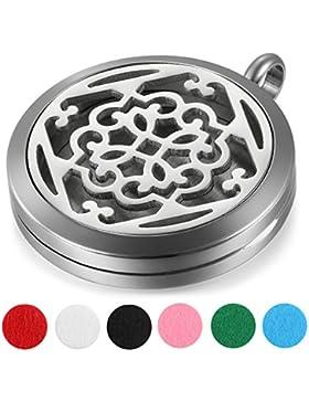 JewelryWe Damen Halskette, 16 verschiedene Design Edelstahl Aromatherapie Ätherische Öle Diffusor öffenbar Floating...
